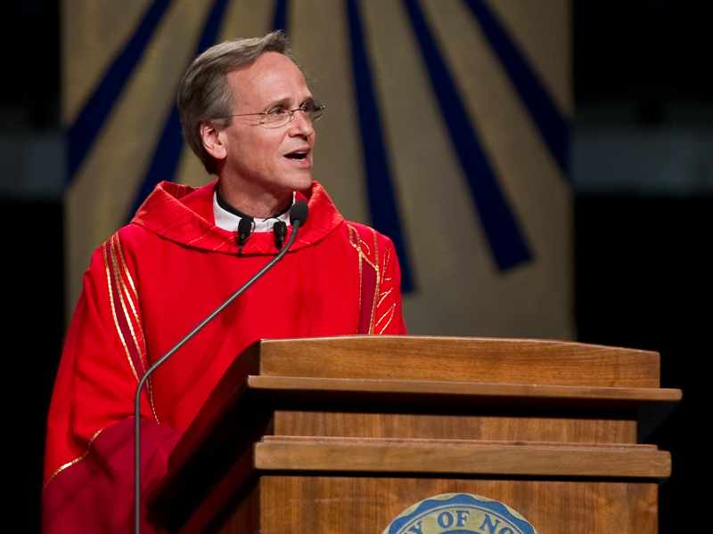 Rev. John I. Jenkins, C.S.C. delivers his homily at the 2010 Opening Mass in the Purcell Pavilion.