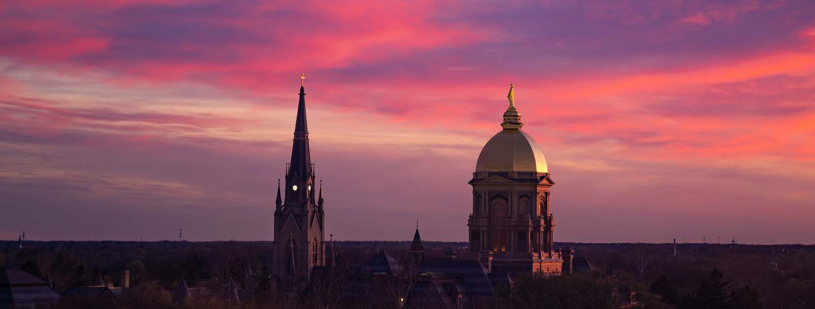Dome and Basilica at sunset.