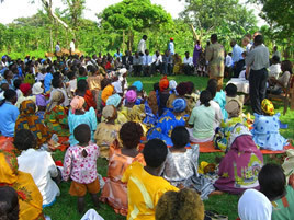 Community gathering in Nindye